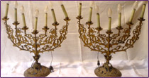 A pair of altar candelabra for seven lights in bronze