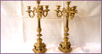 Altar cross  and its pair of candlesticks in bronze, end of the 19th century