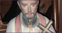 Saint  François Xavier statue, in polychrome plaster, from the saint-Sulpicien era