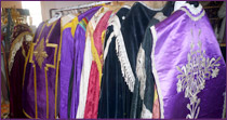 All the outfits  are complete: stoles, maniples, veils, purses and chasubles.