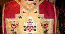 Chasuble in  red silk from Lyons